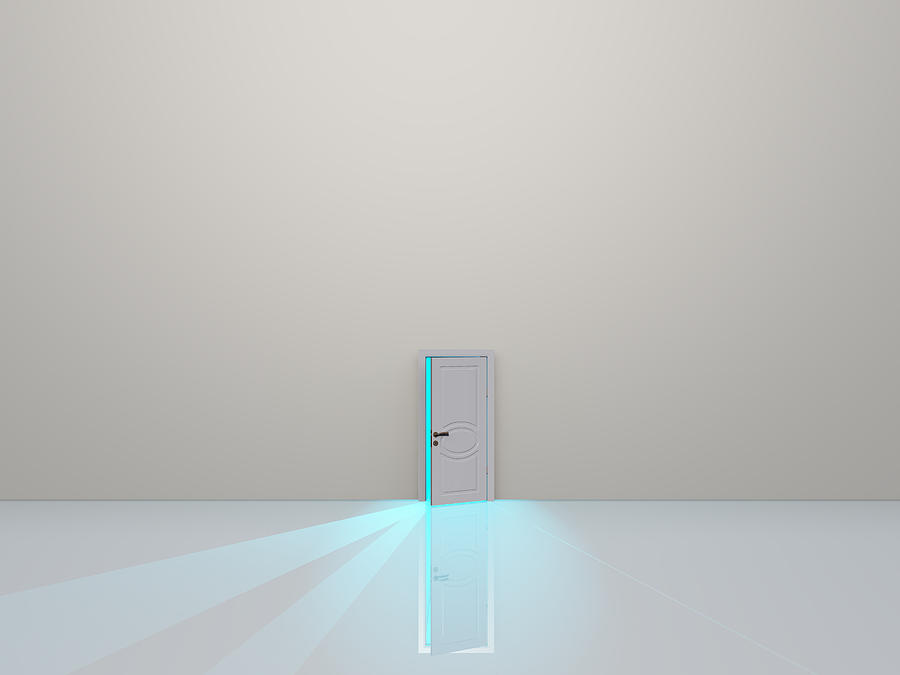 Single Door In Pure White Space Emaits Light Digital Art