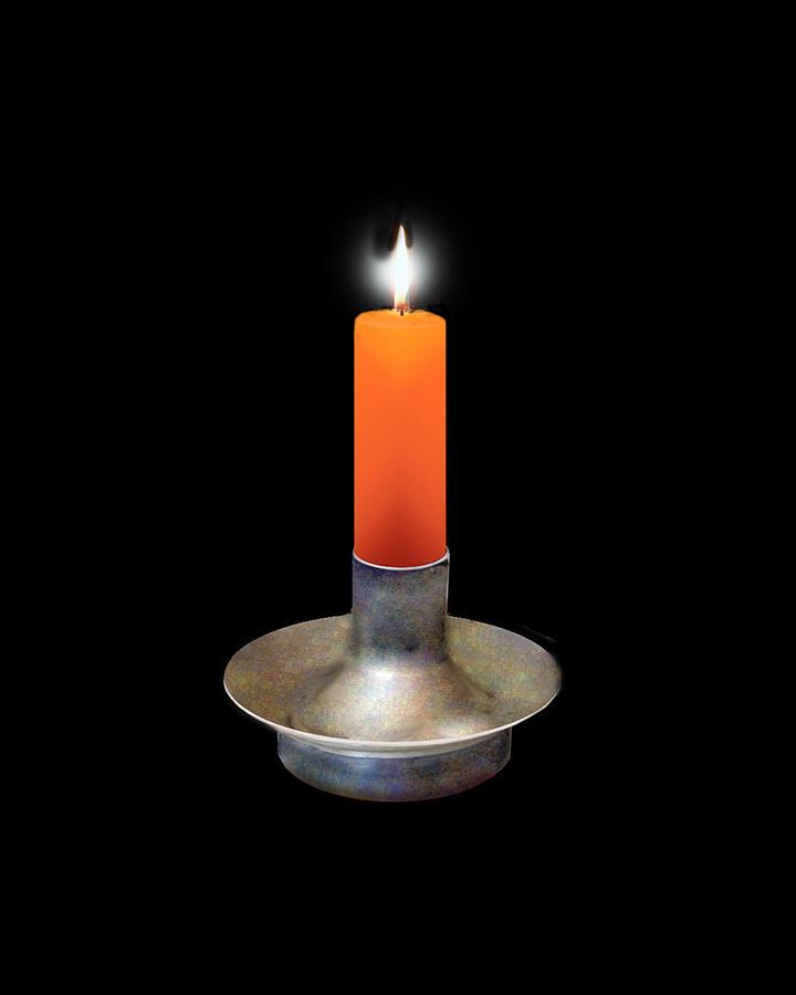 Single Orange Candle On Black Digital Art