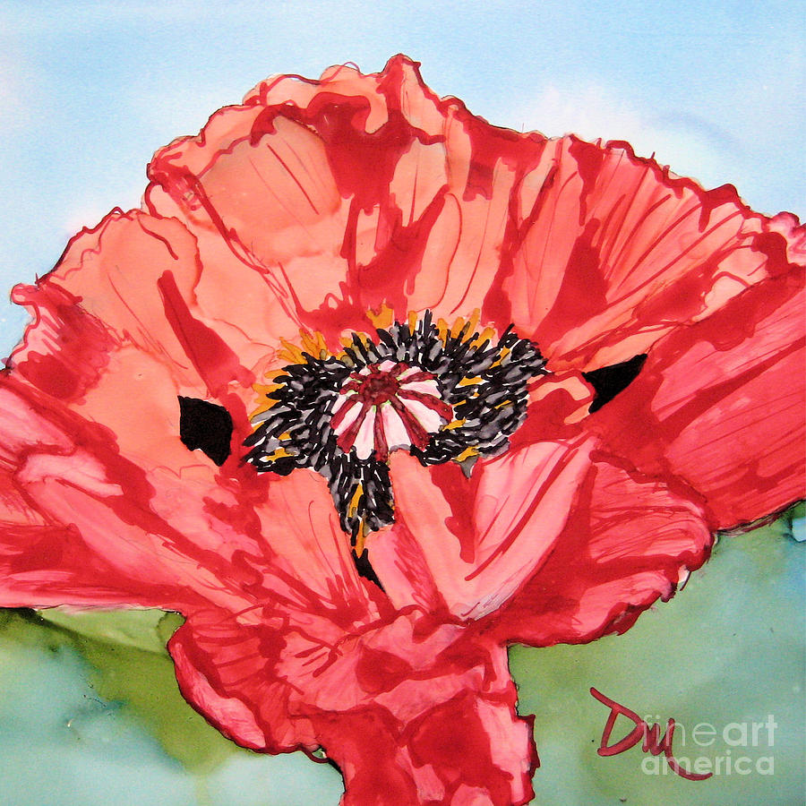 Poppy Painting - Single Oriential Poppy by Diane Marcotte