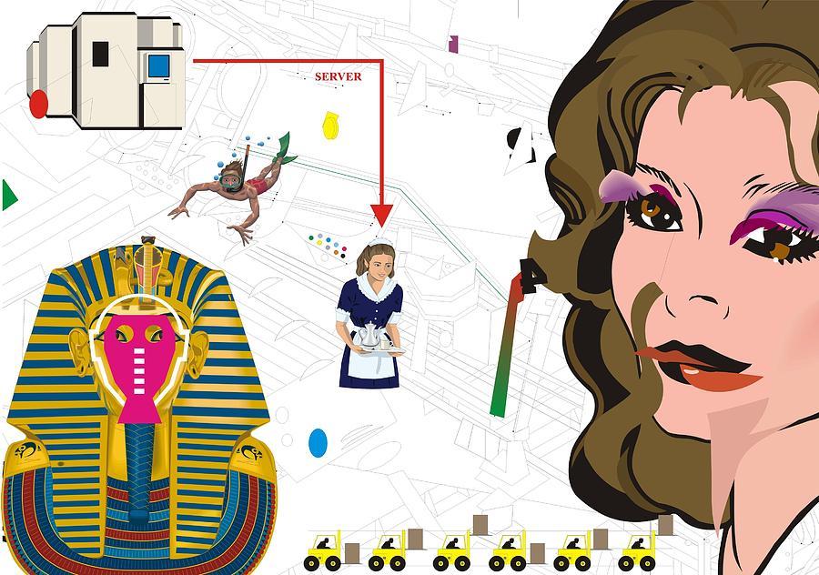 Postmodern Digital Art - Sinking For Pharaos Beauty by Teo Spiller