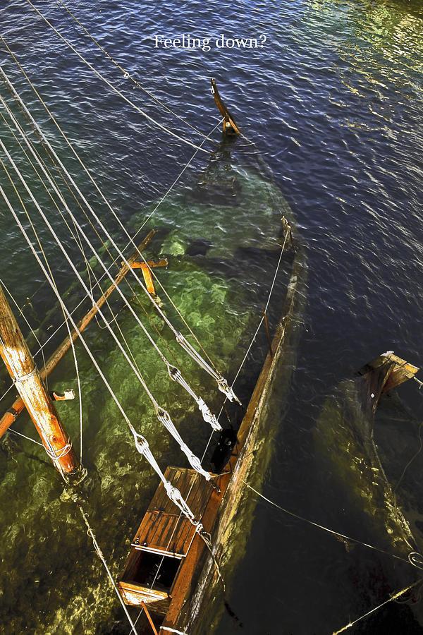 Stern Under Water Photograph - Sinking Sailboat by Sally Weigand