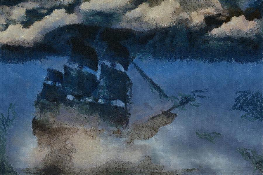Sailer Painting - Sinking Sailer by Ayse and Deniz
