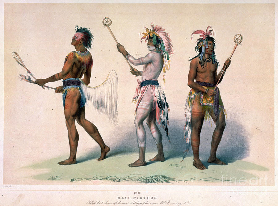 1845 Drawing - Sioux Lacrosse Players by Granger