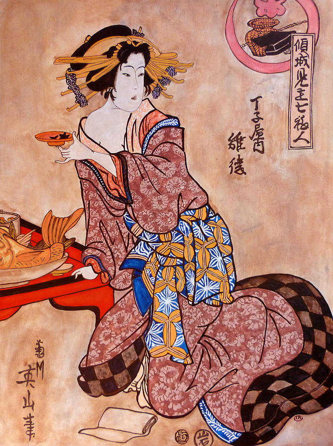 Japanese Woodblock Painting - Sipping Sondra by Tom Roderick