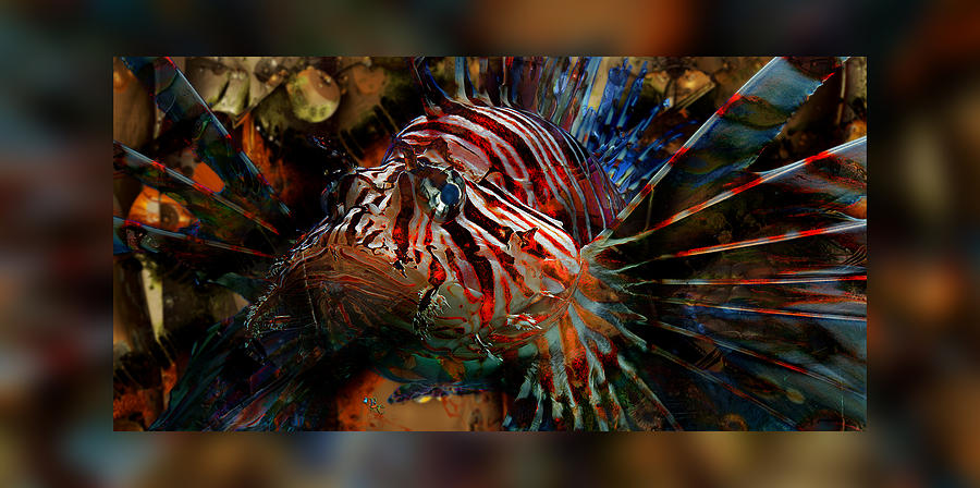 Abstract Fractals graphic Design digital Art Illustration computer Art Abstract Digital Art - Sir George Lionfish II by Robin Curtiss