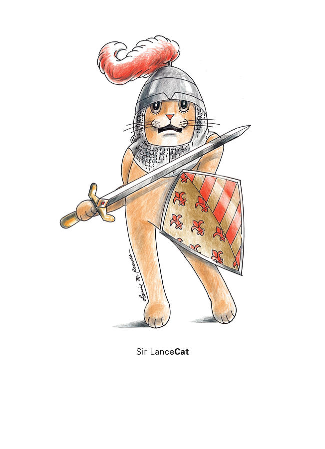 Cat Drawing - Sir Lancecat by Louise McClain Reeves