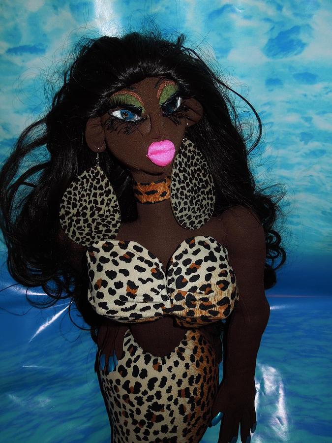 Fantasy Sculpture - Siren Mermaid Cheetah Tail by Cassandra George Sturges