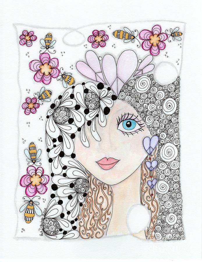 Girl Drawing - Sissy by Paula Dickerhoff