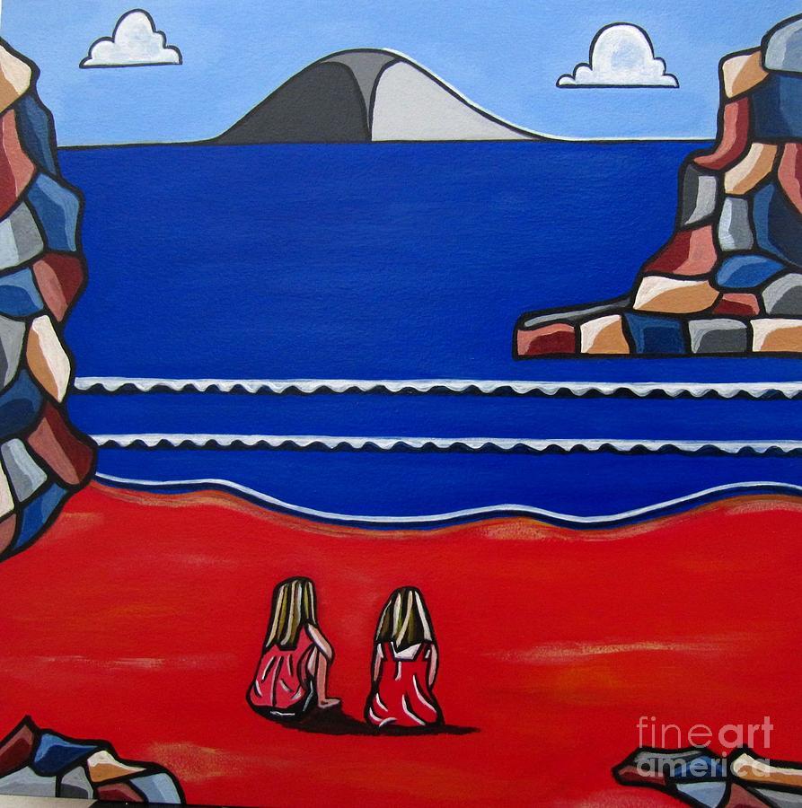 Beach Scenes Painting - Sister Bond by Sandra Marie Adams