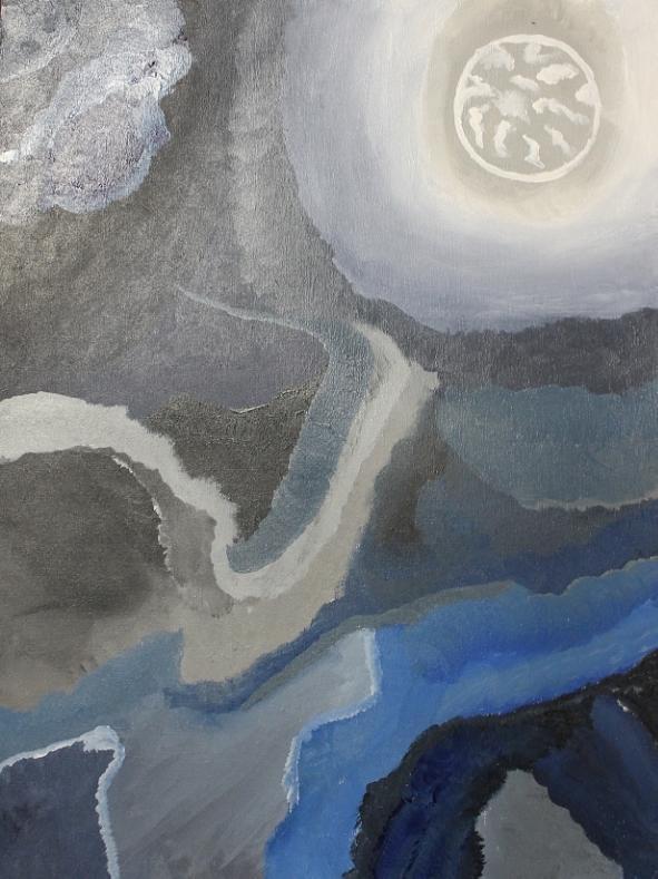 White Painting - Sister Moon by Sarah E Kohara