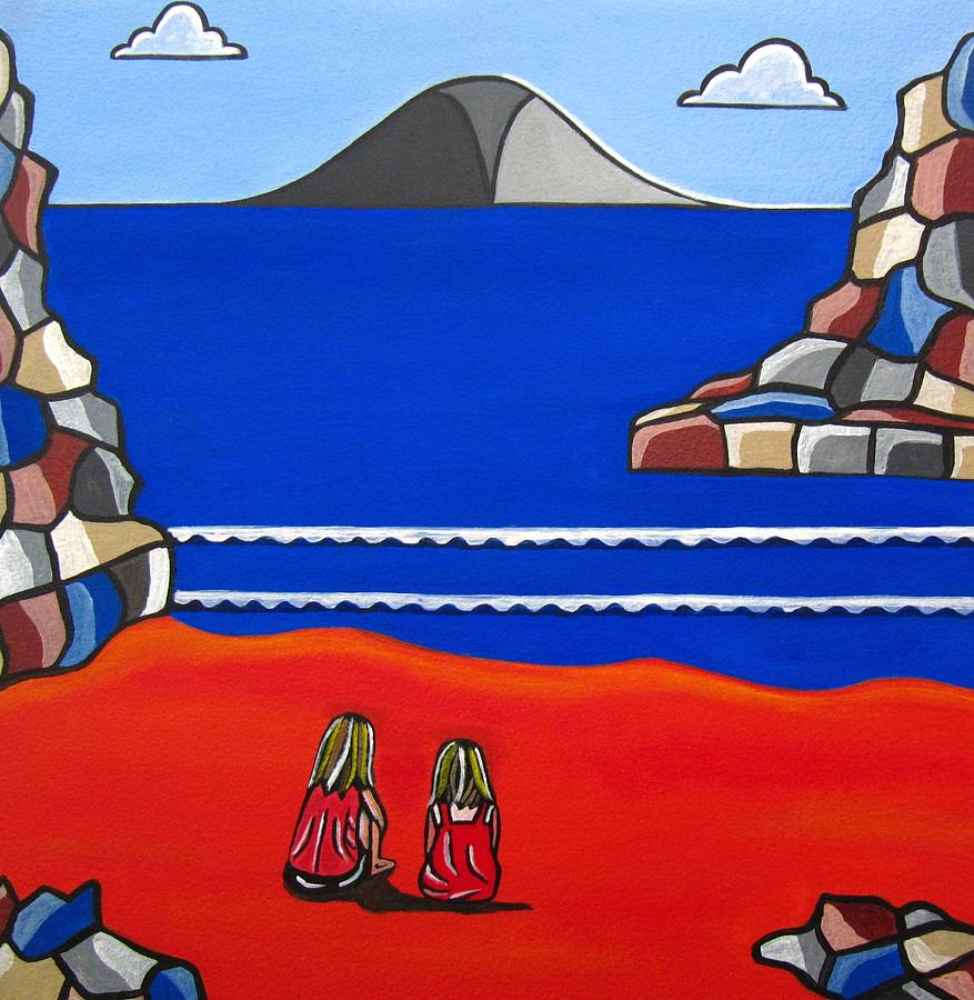 Beach Scenes Painting - Sister Talk by Sandra Marie Adams
