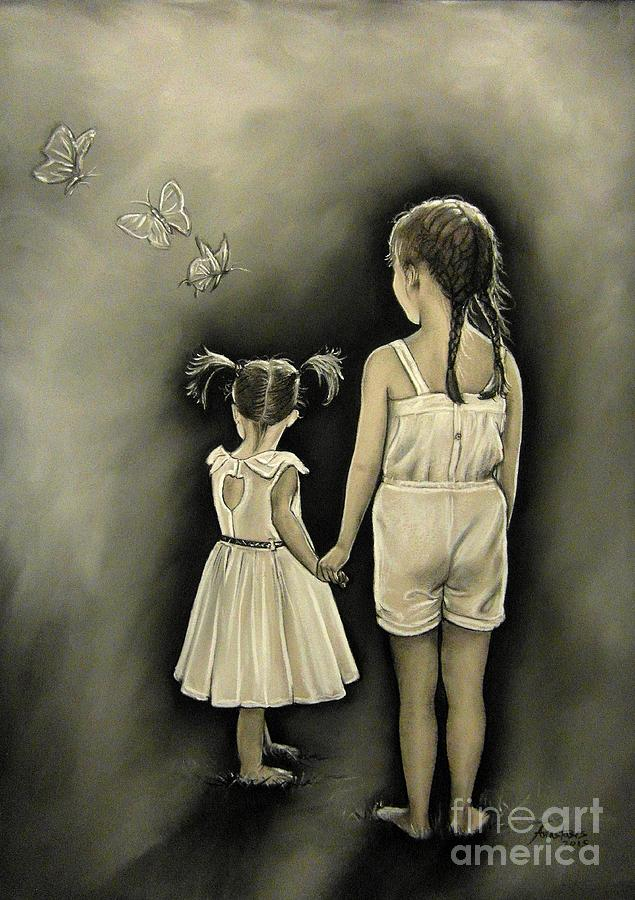 Sisters Drawing - Sisters... by Anastasis  Anastasi