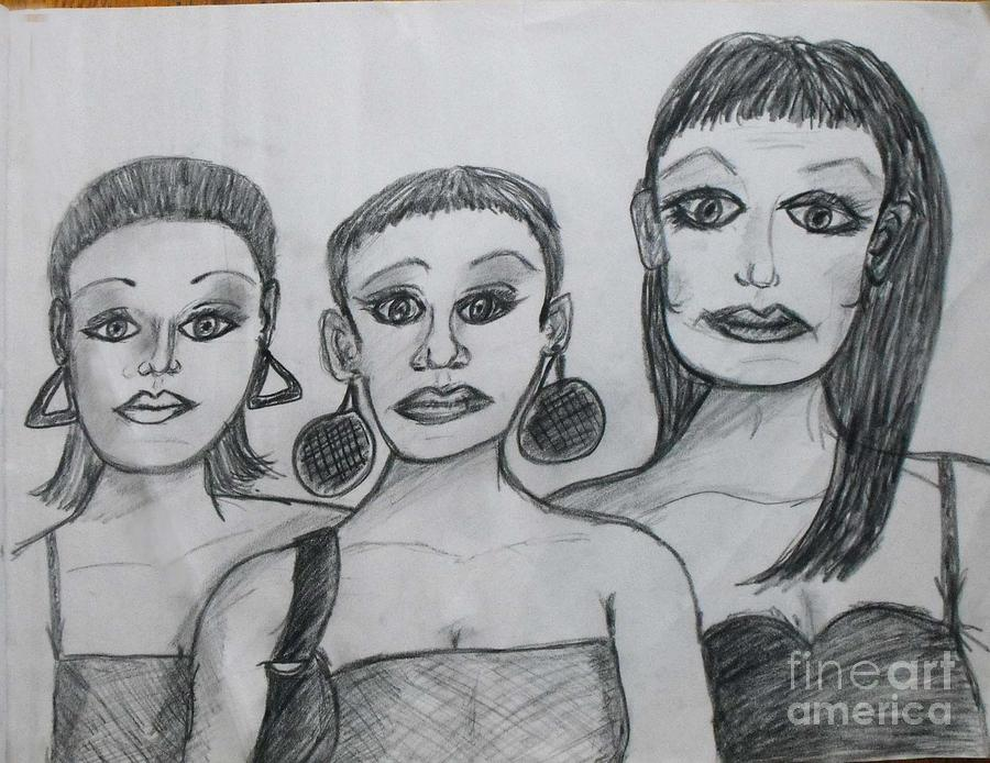 Sisters Drawing - Sisters And Brother by Catherine Ratliff