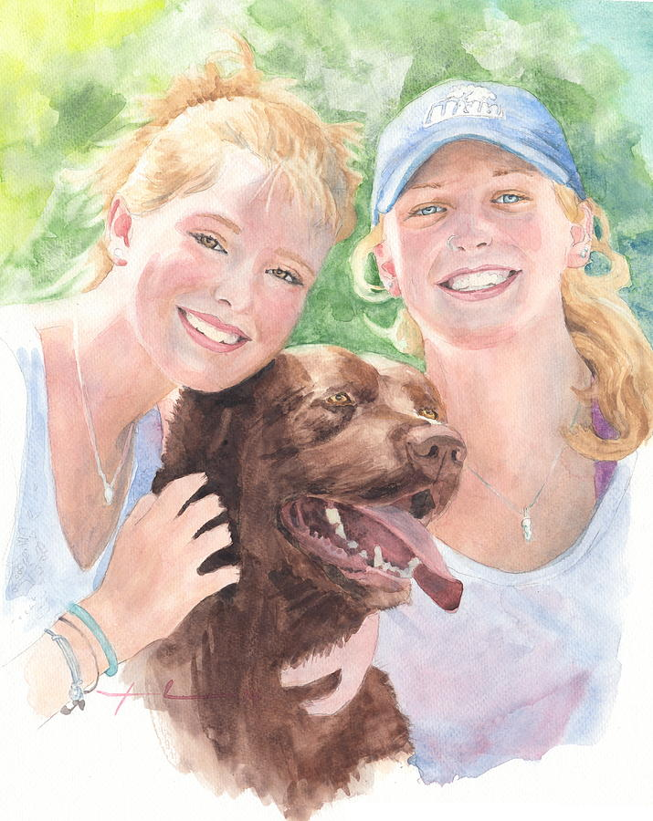 Sisters And Chocolate Lab In Sun Watercolor Portrait Painting by Mike Theuer