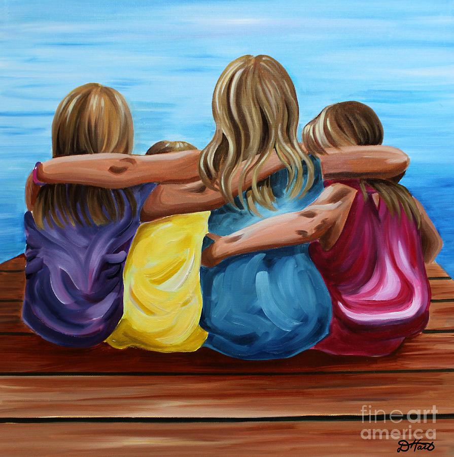 Pier Painting - Sisters by Debbie Hart