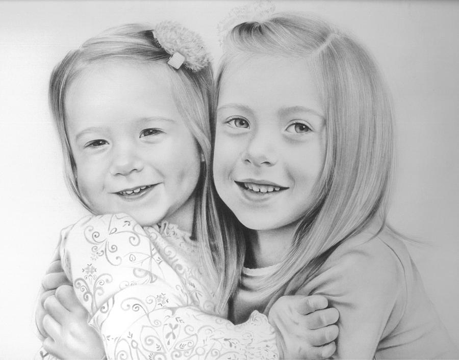 Sisters Drawing - Sisters by Natasha Denger