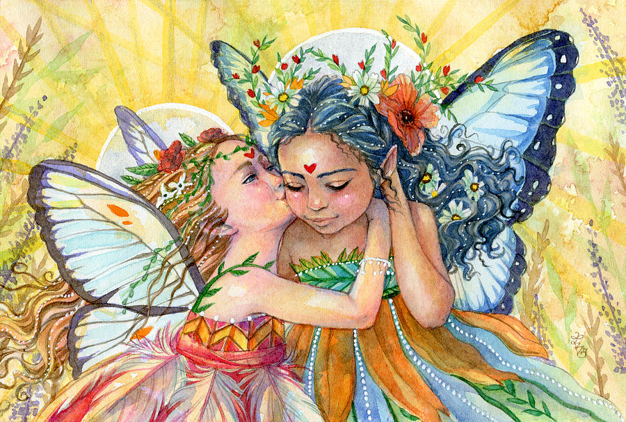 Fairy Painting - Sisters by Sara Burrier
