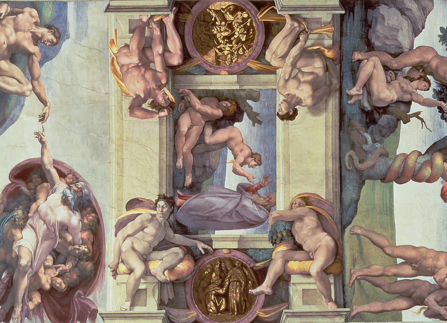 Renaissance Painting - Sistine Chapel Ceiling 1508-12 The Creation Of Eve, 1510 Fresco Post Restoration by Michelangelo Buonarroti