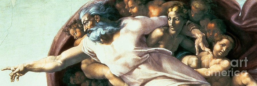 Renaissance Painting - Sistine Chapel Ceiling Creation Of Adam by Michelangelo Buonarroti