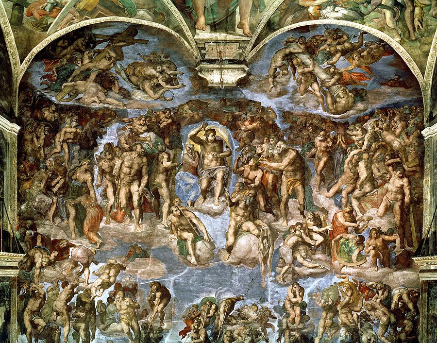 High Renaissance Photograph - Sistine Chapel The Last Judgement, 1538-41 Fresco Pre-restoration by Michelangelo Buonarroti