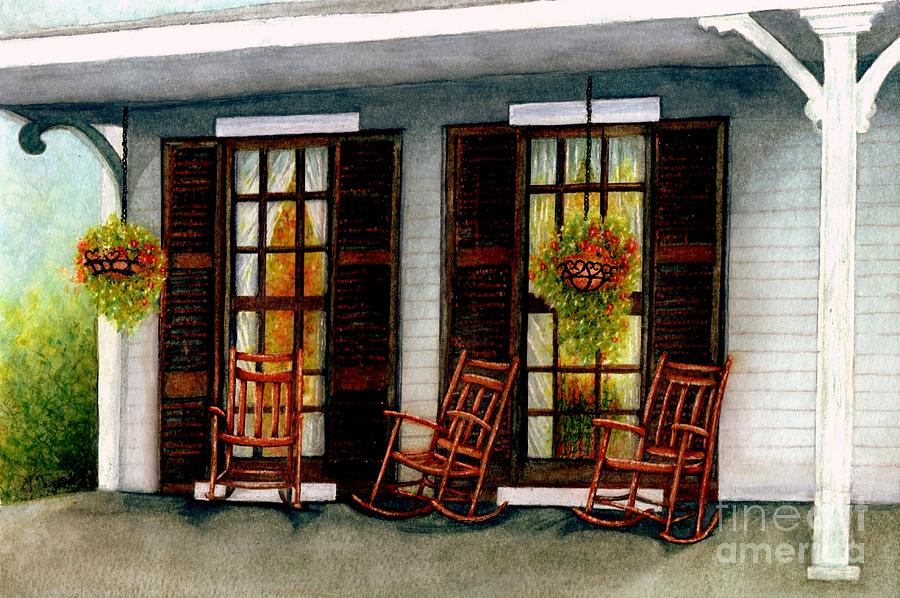 Rocking Chairs Painting - Sit A Spell  by Janine Riley