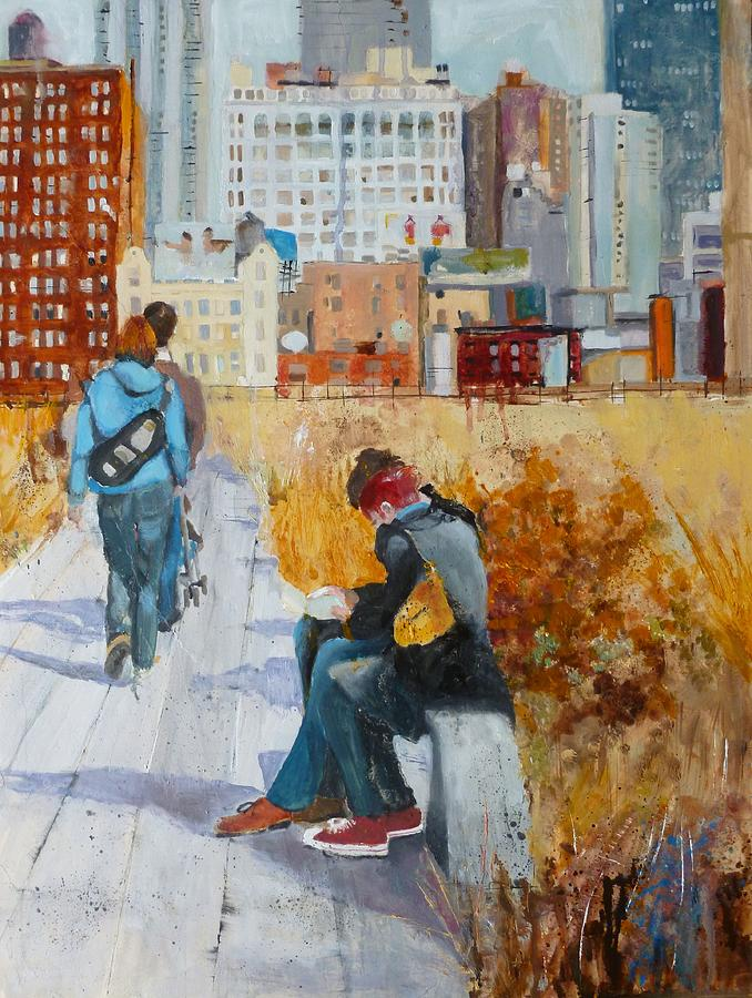 Cityscape Painting - Sitting Along The Highline Nyc II by Joanne Orce
