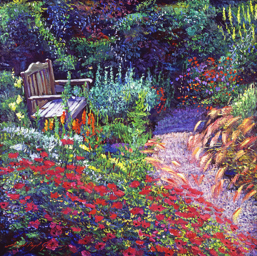English country garden paintings - English Country Garden Painting Sitting Amoung The Flowers By David Lloyd Glover
