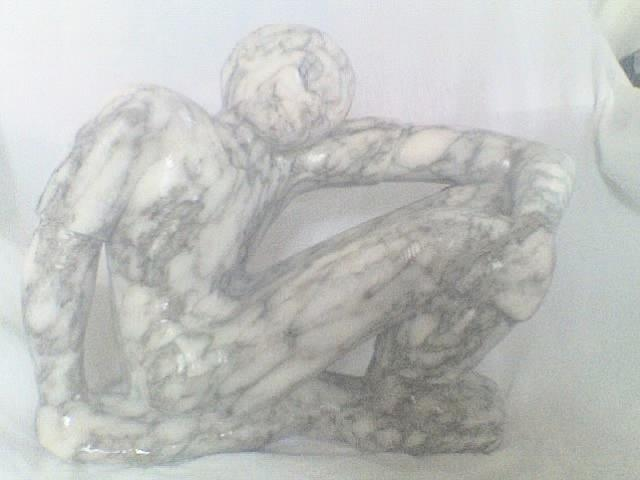Stone Sculpture Sculpture - Sitting And Waitng by Peter Johnson