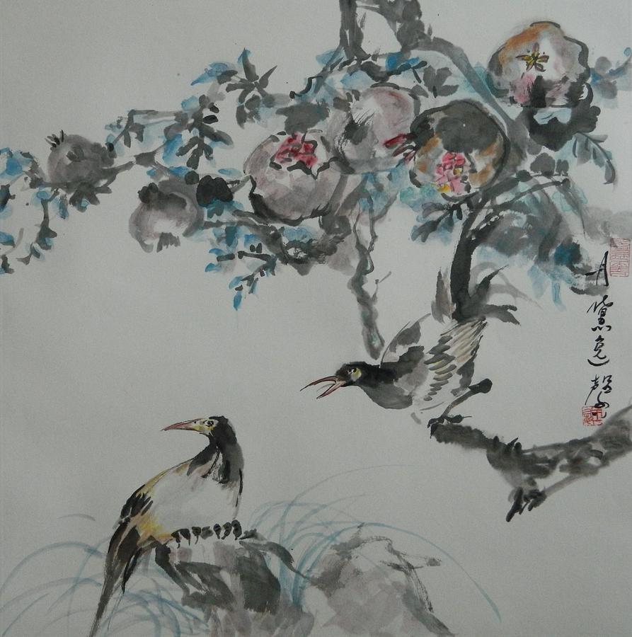Sitting Bird by Min Wang