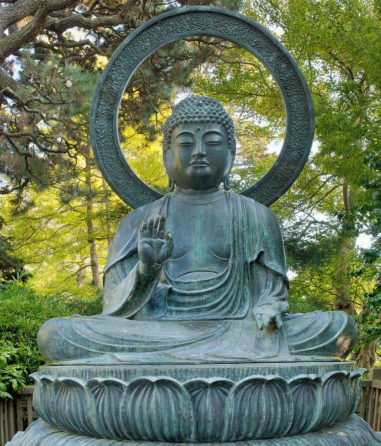 Buddha Photograph - Sitting Bronze Buddha At San Francisco Japanese Garden by David Gn