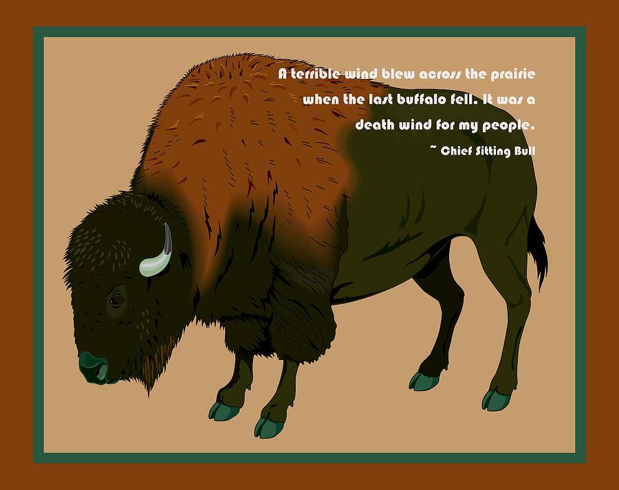 Buffalo Digital Art - Sitting Bull Buffalo by Digital Creation