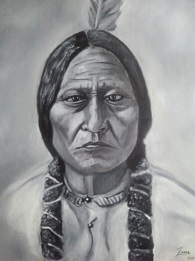 sitting bull painting by lance james. Black Bedroom Furniture Sets. Home Design Ideas