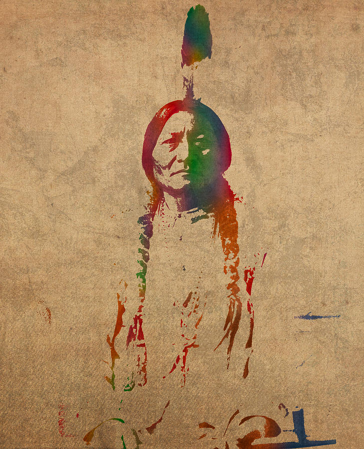 Sitting Bull Design.Sitting Bull Watercolor Portrait On Worn Distressed Canvas
