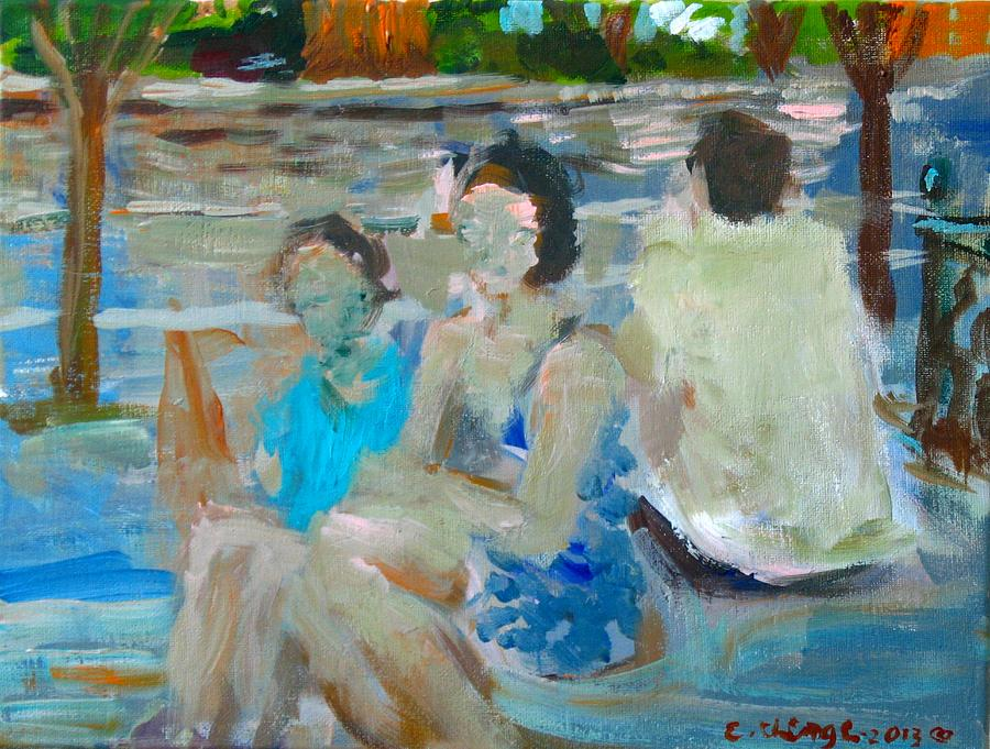 Figures Painting - Sitting Figures  by Edward Ching