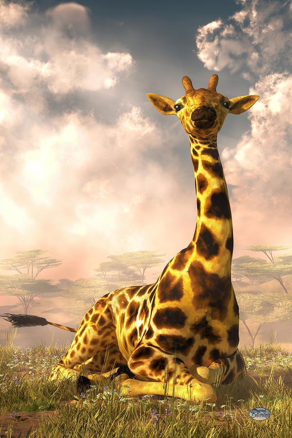 Sitting Giraffe Digital Art by Daniel Eskridge