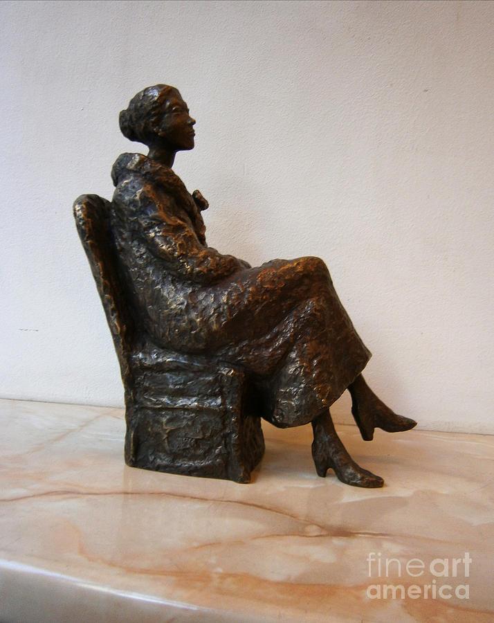 Bronze Sculpture - Sitting Girl by Nikola Litchkov