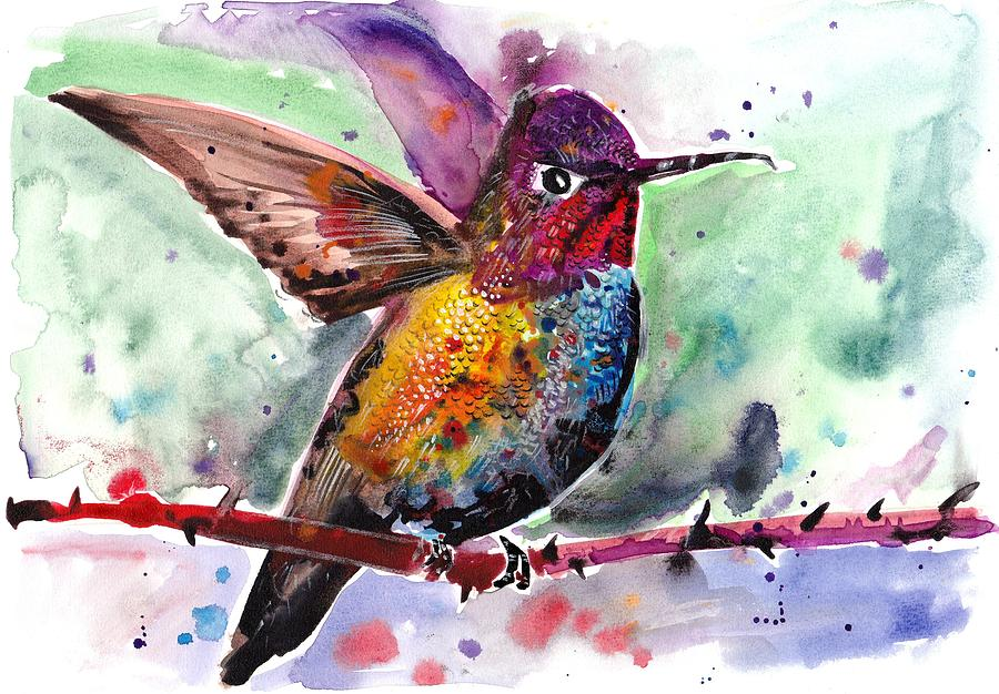 Sitting Hummingbird Watercolor Painting