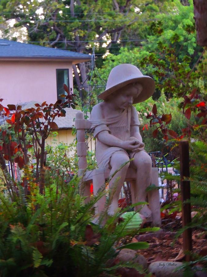 Garden Photograph - Sitting In The Garden by Judy  Waller