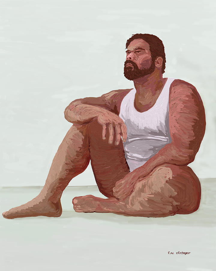 Male Painting - Sitting Man by Tim Stringer