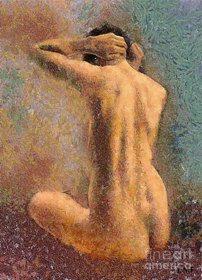 Human Body Mixed Media - Sitting Nude 3 by Dragica  Micki Fortuna