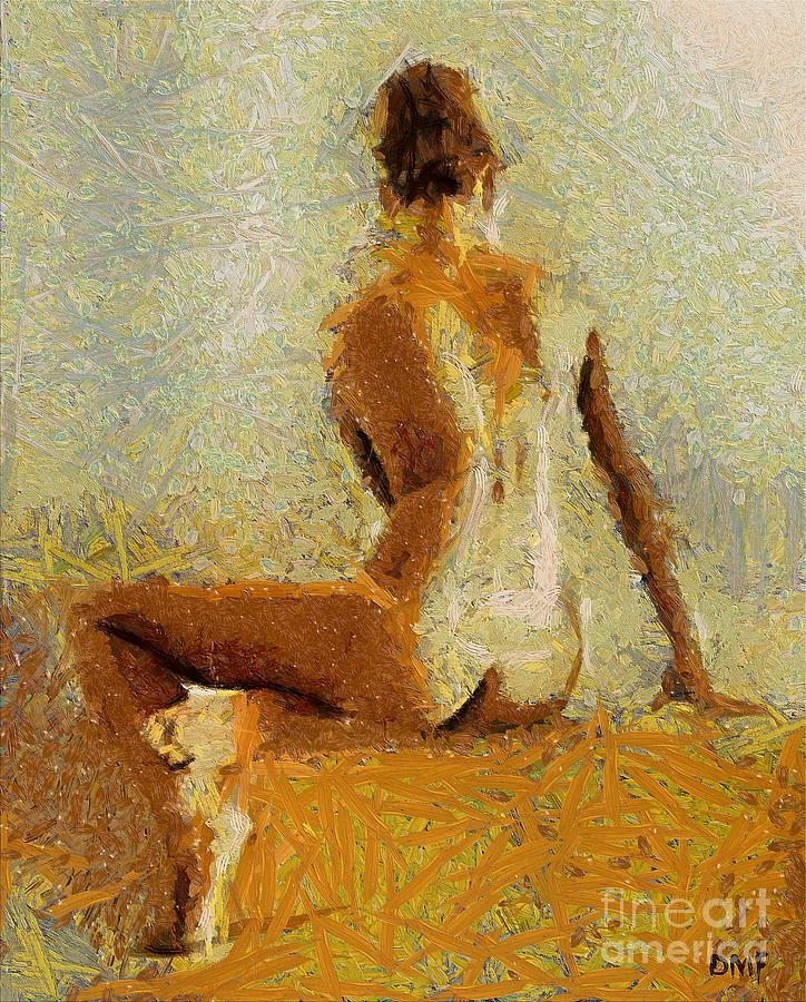 Human Body Painting - Sitting Nude II by Dragica  Micki Fortuna