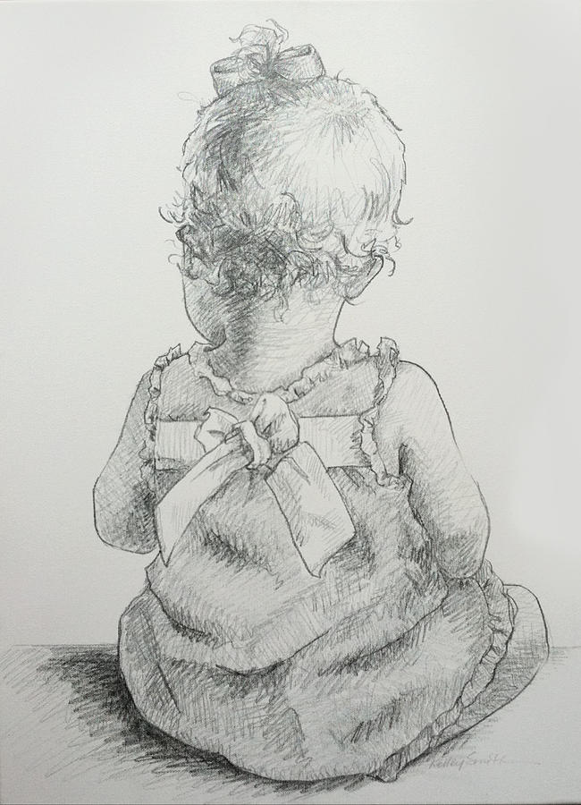 Baby Drawing - Sitting Pretty by Kelley Smith