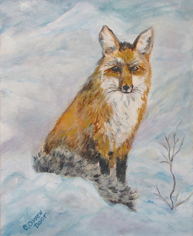 Fox Painting - Sitting Sly by Caroline Owen-Doar