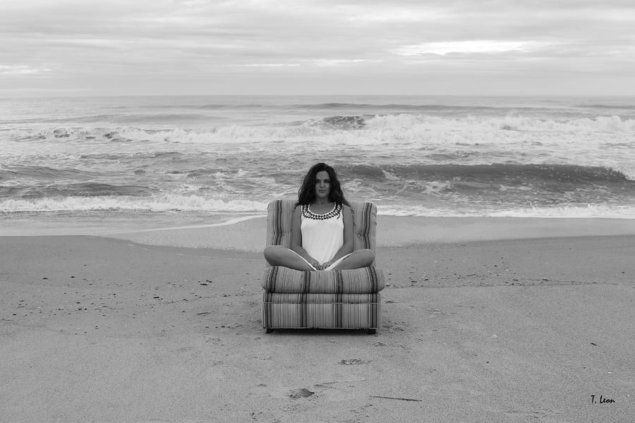 Chair Photograph - Sittinng On The Beach by Thomas Leon