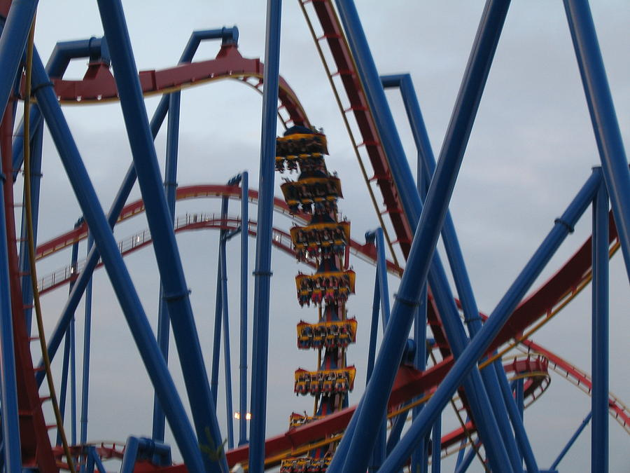 Six Photograph - Six Flags Great Adventure - Medusa Roller Coaster - 12125 by DC Photographer