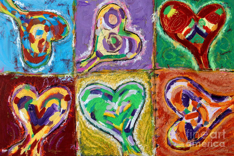 Happy Hearts Painting - Six Hearts by Kelly Athena