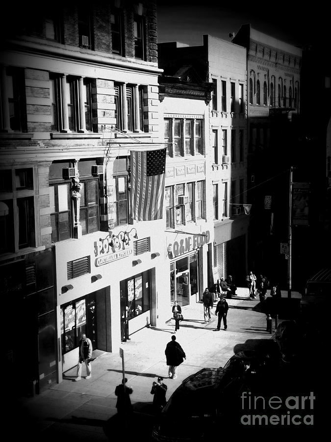 Street Scene Photograph - Six Oclock On The Street - Black And White by Miriam Danar