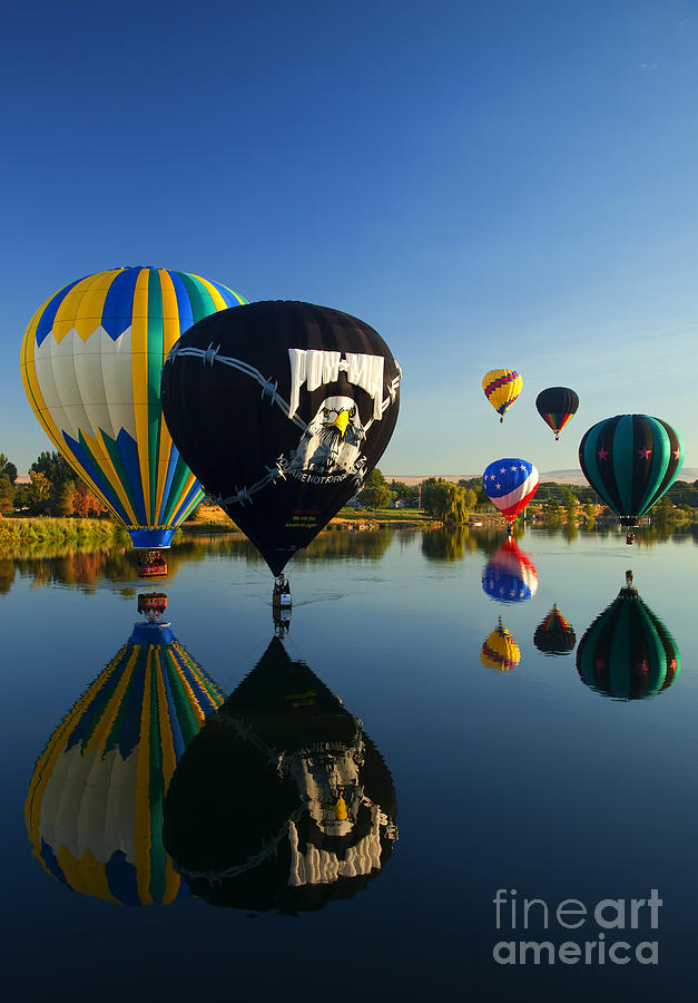 Balloon Photograph - Six On The Pond by Mike  Dawson