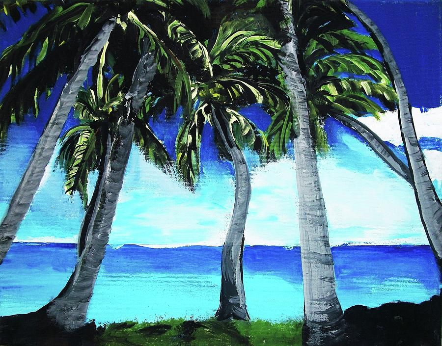 Six Palms Painting by Michael Henzel