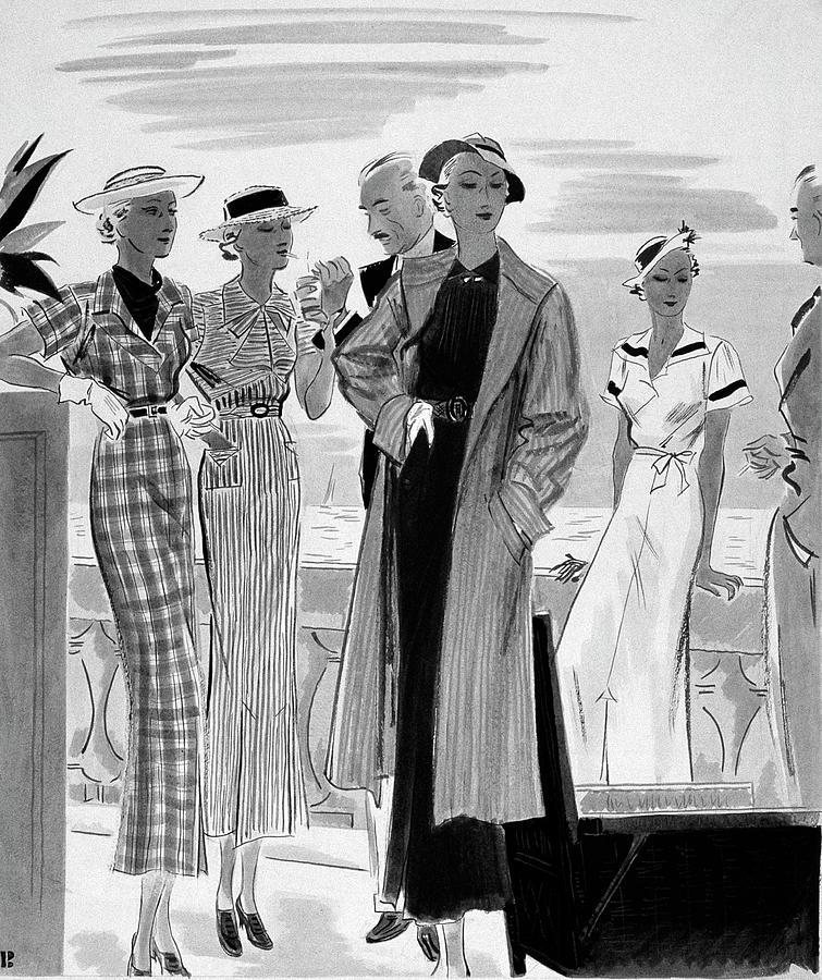 Six People Posing On A Terrace Digital Art by William Bolin